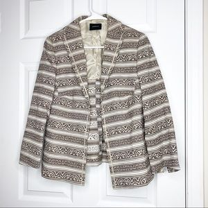 Akris tan patterned double breasted blazer